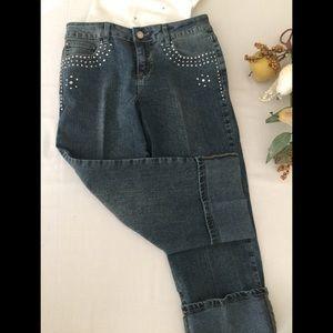 Baccini Denim jeans silver studs rhinestones Sz 6P